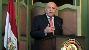 Egyptian Foreign Minister Sameh Shoukry speaks during a news conference after a meeting with his Italian counterpart Paolo Gentiloni at the foreign ministry in Cairo, Egypt, July 13, 2015. Gentiloni's visit comes two days after Islamic State claimed responsibility for a car bomb attack at the Italian consulate in central Cairo on Saturday, in an escalation of violence that suggests militants are opening a new front against foreigners in Egypt. REUTERS/Mohamed Abd El Ghany - RTX1K7WL